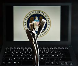THEMENBILD - Netzueberwachung. Das Bild wurde am 30. Oktober 2013 aufgenommen. im Bild Netzwerkkabel vor Monitor mit National Security Agency (NSA) Logo and Tastatur // THEMES PICTURE - Monitoring of Internet Use. The image was taken on october, 30th, 2013. Picture shows Network Cable in front of Screen with National Security Agency (NSA) Emblem and Keybord, AUT, EXPA Pictures © 2013, PhotoCredit: EXPA/ Michael Gruber