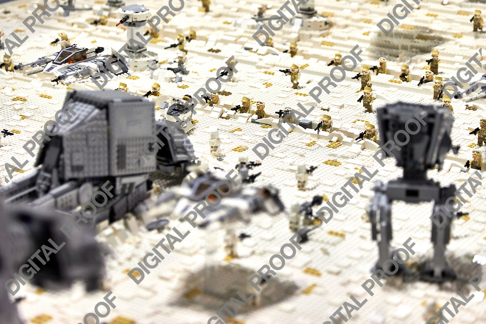 Milan, Italy - March 8 2019 Cartoomics Comic Con Scene from Empire Strikes Back from Start Wars made out of lego in exhibition