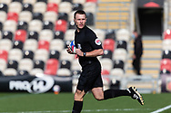 Today's referee Thomas Bramall during the EFL Sky Bet League 2 match between Newport County and Tranmere Rovers at Rodney Parade, Newport, Wales on 17 October 2020.