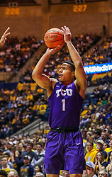 Jan 14, 2020; Morgantown, West Virginia, USA; TCU Horned Frogs guard Desmond Bane (1) shoots a three pointer during the first half against the West Virginia Mountaineers at WVU Coliseum. Mandatory Credit: Ben Queen-USA TODAY Sports