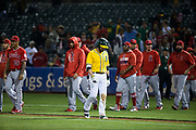Oakland Athletics second baseman Jed Lowrie (8) walks off the field after losing to the Los Angeles Angels in extra innings at Oakland Coliseum in Oakland, California, on September 5, 2017. (Stan Olszewski/Special to S.F. Examiner)