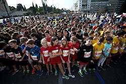 November 12, 2017 - Athens, Attica, Greece - Kids participate to the small 3km marathon during the 35th Athens Classic Marathon in Athens, Greece, November 12, 2017. (Credit Image: © Giorgos Georgiou/NurPhoto via ZUMA Press)