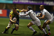 Owen Lane of Cardiff Blues (l) is tackled by Cheslin Kolbe of Stade Toulouse. European Rugby Challenge Cup, pool 2 match, Cardiff Blues v Toulouse at the BT Cardiff Arms Park, in Cardiff, South Wales on Sunday 14th January 2018.<br /> pic by  Andrew Orchard, Andrew Orchard sports photography.