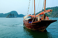Halong Bay Junk at Monkey Island - Cruising Halong Bay in a junk is one of Vietnam's musts - you'll not only savor unique views of the bay but also enjoy such activities as photography, fishing, kayaking, and even on board cooking classes not to mention the UNESCO World Heritage views of Halong Bay itself.