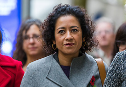 © Licensed to London News Pictures. 01/11/2019. London, UK. Television presenter, Samira Ahmed arrives at the Central London Employment Tribunal to attend an equal pay case hearing against the BBC. Samira Ahmed, who presents Newswatch on BBC One and Radio 4's Front Row claims she was paid less than male colleagues for doing equivalent work under the Equal Pay Act. Photo credit: Vickie Flores/LNP