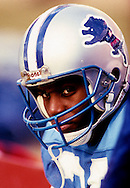 ATLANTA, GA-1989:  NFL Hall of Fame running back Barry Sanders of the Detroit Lions looks on during a game against the Atlanta Falcons at Fulton County Stadium in Atlanta, Georgia in 1989.  Sanders played for the Lions from 1989-1998.  (Photo by Ron Vesely)