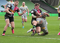 Rugby Union - 2020 / 2021 Gallagher Premiership - Round 18 - Harlequins vs Wasps - The Stoop<br /> <br /> Malakai Fekitoa of Wasps forces his way over the line for his 2nd half try<br /> <br /> Credit : COLORSPORT/ANDRTEW COWIE