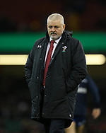 Warren Gatland, the Wales head coach looks on before the game. Wales v Scotland, NatWest 6 nations 2018 championship match at the Principality Stadium in Cardiff , South Wales on Saturday 3rd February 2018.<br /> pic by Andrew Orchard, Andrew Orchard sports photography