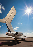 Bombardier Global Express, photographed on the ramp at Kalamazoo International Airport, Michigan.  <br /> <br /> Created by aviation photographer John Slemp of Aerographs Aviation Photography. Clients include Goodyear Aviation Tires, Phillips 66 Aviation Fuels, Smithsonian Air & Space magazine, and The Lindbergh Foundation.  Specialising in high end commercial aviation photography and the supply of aviation stock photography for advertising, corporate, and editorial use.