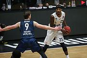 Basketball: Deutschland, 1. Bundesliga, Hamburg Towers - HAKRO Merlins Crailsheim, Hamburg, 10.01.2021<br /> Fabian Bleck (Merlins, l.) - Terry Allen (Towers)<br /> © Torsten Helmke