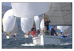 The third days racing at the Bell Lawrie Yachting Series in Tarbert Loch Fyne. Perfect conditions finally arrived for competitors on the three race courses..GBR6942R Bavaria Match 42 Sidney helmed by Hamish McKay .