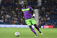 Bristol City striker Famara Diedhiou (9) sprints forward with the ball during the EFL Sky Bet Championship match between West Bromwich Albion and Bristol City at The Hawthorns, West Bromwich, England on 18 September 2018.
