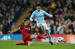 Liverpool's Dejan Lovren and Manchester City's Leroy Sane (right) battle for the ball during the UEFA Champions League, Quarter Final at the Etihad Stadium, Manchester.