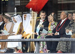 October 22, 2019, JAPAN: 22-10-2019 Inhuldiging Enthronement ceremony of Emperor Naruhito of Japan in Tokyo..Queen Letizia and King Felipe at the Imperial Palace to attend the proclamation ceremony of Japans Emperor in Tokyo, Japan..Queen Mathilde and King Filip. (Credit Image: © face to face via ZUMA Press)