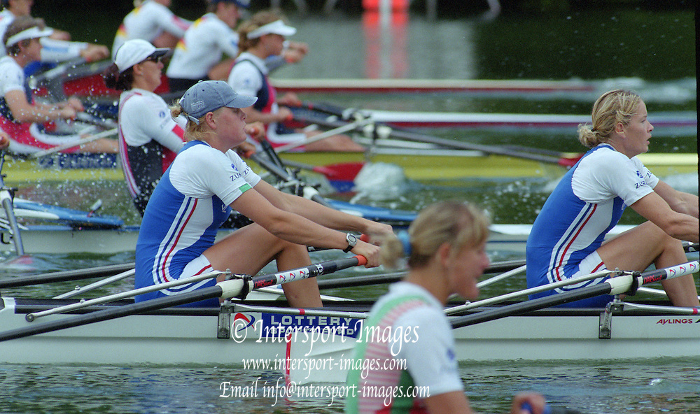 Lucerne, SWITZERLAND,  women's double. GBR W2X Bow Frances HOUGHTON and Gillian LINDSEY.  2000 FISA World Cup, Rotsee Rowing Course, June 2000.  [Mandatory Credit, Peter Spurrier/Intersport-images] 2000 FISA World Cup, Lucerne, SWITZERLAND