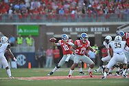 Mississippi Rebels quarterback Chad Kelly (10) passes against Vanderbilt Commodores at Vaught-Hemingway Stadium at Ole Miss in Oxford, Miss. on Saturday, September 26, 2015. (AP Photo/Oxford Eagle, Bruce Newman)