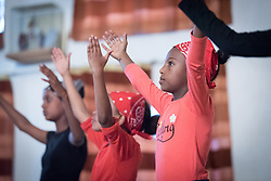 31 January 2019, Southern Nations, Nationalities, and Peoples' Region, Ethiopia: A group of deaf children conclude a prayer and dance performance in sign language. In Hossana, the Ethiopian Evangelical Church Mekane Yesus runs a school for deaf children, giving access to education to hundreds of children who may otherwise have been at risk of marginalization.