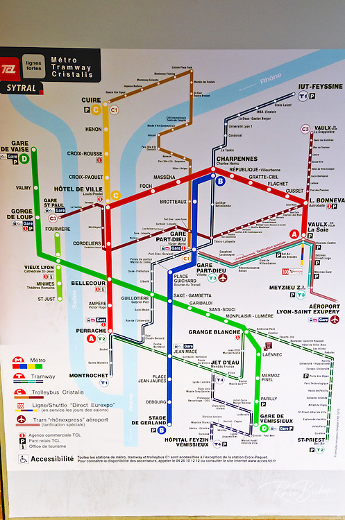 Metro route map, Lyon, France (UNESCO World Heritage Site)
