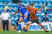 Gillingham FC midfielder Jacob Mellis (18) and Hull City midfielder Richie Smallwood (6) during the EFL Sky Bet League 1 match between Gillingham and Hull City at the MEMS Priestfield Stadium, Gillingham, England on 12 September 2020.
