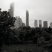 220 Central Park West by architect Robert A.M. Stern photographed during construction in the fog from Central Park, spring 2017