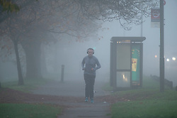 © Licensed to London News Pictures. 05/11/2020.  <br /> Bromley, UK. A runner in the fog. Freezing cold foggy weather conditions this morning in Bromley, South East London as temperatures drop to -3 in some parts of the UK. Photo credit:Grant Falvey/LNP