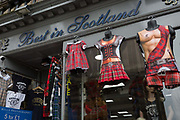 Tartan kilt T-shirts on sale in a tourist shop in Edinburgh, on 25th June 2019, in Edinburgh, Scotland.