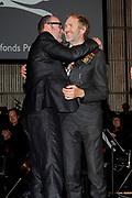 Anton Corbijn en Bart Chabot tijdens uitreiking van de Prins Bernhard Cultuurfonds Prijs 2011