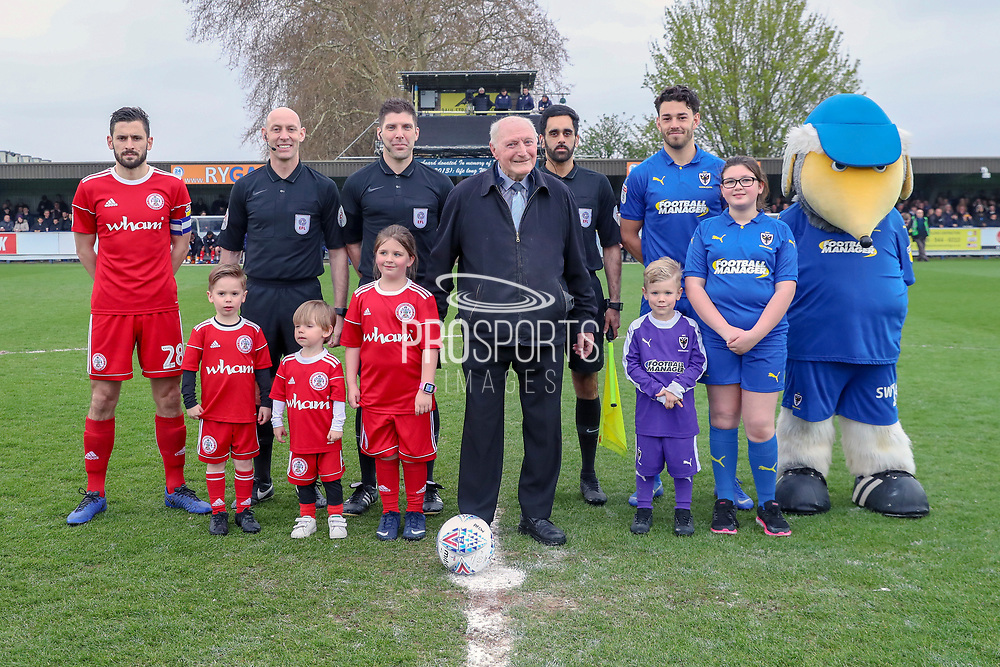 Mascot during the EFL Sky Bet League 1 match between AFC Wimbledon and Accrington Stanley at the Cherry Red Records Stadium, Kingston, England on 6 April 2019.