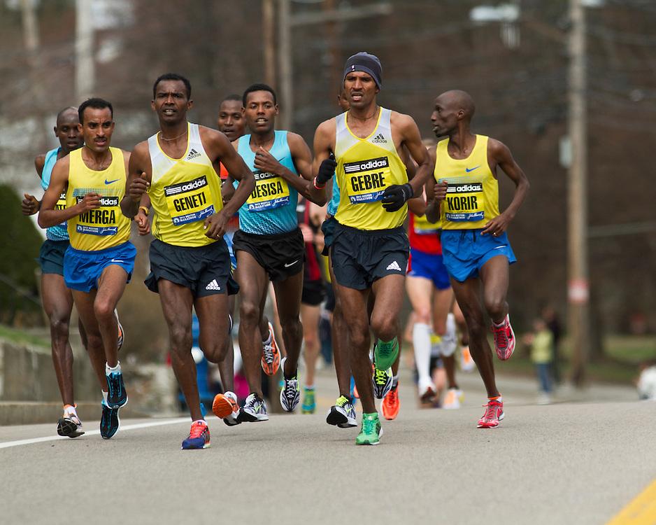 2013 Boston Marathon: elite men led by Geneti, Gebremariam