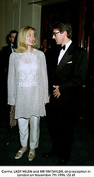 Centre, LADY HELEN and MR TIM TAYLOR, at a reception in London on November 7th 1996.LTJ 41