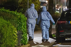 © Licensed to London News Pictures. 16/02/2020. London, UK. Forensic investigators gather evidence at the scene of a multiple stabbing in Barking. Photo credit: Peter Manning/LNP