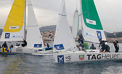 Betrand Pace (fra) (right)from team  Aleph round the mark ahead of Torvar Mirsky racing team  during racing on day one of Match race France in Marseille,France 7 April 2010 Photo: Brendon O'Hagan/Subzero images