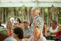 Sonny Wood speaks to the crowd during the 70th Anniversary celebration of the Kiwanis Pool in St. Johnsbury Vermont.  Karen Bobotas / for Kiwanis International