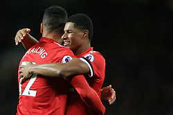 18th November 2017 - Premier League - Manchester United v Newcastle United - Chris Smalling of Man Utd celebrates with teammate Marcus Rashford after scoring their 2nd goal - Photo: Simon Stacpoole / Offside.