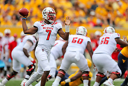 Sep 14, 2019; Morgantown, WV, USA; North Carolina State Wolfpack quarterback Matthew McKay (7) passes the ball during the first quarter against the West Virginia Mountaineers at Mountaineer Field at Milan Puskar Stadium. Mandatory Credit: Ben Queen-USA TODAY Sports