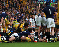Australia's Michael Hooper scoring an Australian try to take the score Scot 16 Aus 15 during the Rugby World Cup Quarter Final match between Australia and Scotland at Twickenham, Richmond, United Kingdom on 18 October 2015. Photo by Matthew Redman.