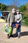 outdoors improvised food market shoppers during Covid 19 crisis France April 2020