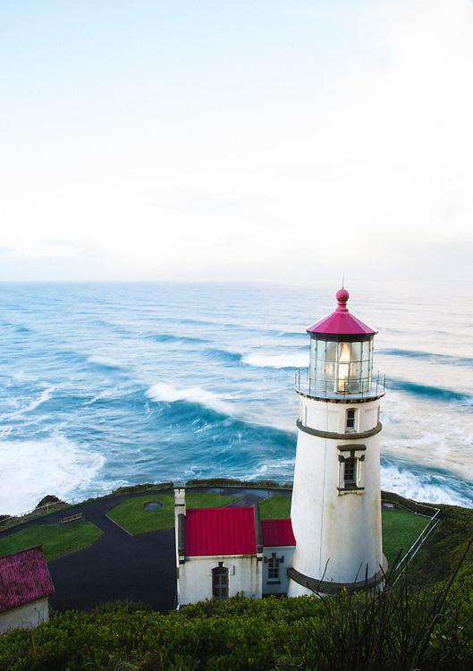 Hecata Head Lighthouse along the Oregon coast.