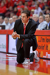 """31 January 2009: Redbird coach Tim Jankovich. The Illinois State University Redbirds join the Bradley Braves in a tie for 2nd place in """"The Valley"""" with a 69-65 win on Doug Collins Court inside Redbird Arena on the campus of Illinois State University in Normal Illinois"""