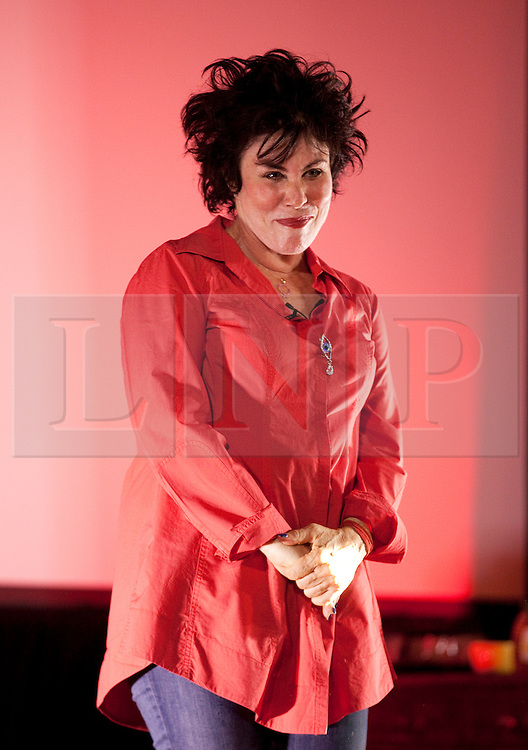 """© Licensed to London News Pictures . 11/08/2013 . London, UK. American comedian Ruby Wax performs her stand-up show """"Out Of Her Mind"""" at the Shuffle festival in St Clement's Social Club. Among other entartainment, Shuffle presents a film festival curated by British director Danny Boyle during 11 days at the old Victorian psychiatric hospital St Clement's, Mile End, east London. Photo credit : /LNP"""