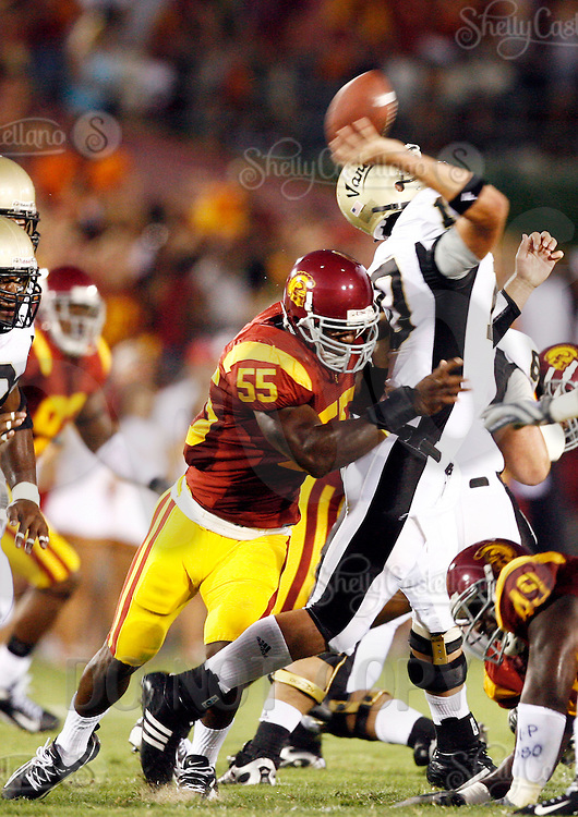 1 September 2007:  #55 Keith Rivers sacks the quarterback #10 Nathan Enderle during the USC Trojans college football team defeated the Idaho Vandals 38-10 at the Los Angeles Memorial Coliseum in CA.  NCAA Pac-10 #1 ranked team first game of the season.