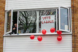 © Licensed to London News Pictures. 12/12/2019. London, UK. Neighbours put up balloons next to Jeremy Corbyn's house this morning just before he walks to the polling station to cast his vote in the general Election. As the Country decides on a new political party and Prime Minister. Photo credit: Alex Lentati/LNP