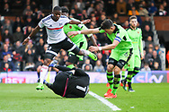 Carl Ikeme of Wolverhampton Wanderers making a save at the feet from Floyd Ayite during the Sky Bet Championship match at Craven Cottage, London<br /> Picture by Richard Brooks/Focus Images Ltd 07947656233<br /> 18/03/2017