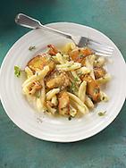 Sauteed wiild organic Pied de Mouton Mushrooms (hydnum repandum) or hedgehog mushroom with Casarecce Siciliane pasta