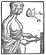 Descartes' idea of how eye passes impulse to brain and so directs a voluntary movement. From Rene Descartes' 'Opera Philosophica', 1692. Woodcut