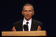 Ross Perot answers a question at the presidential debate in October 1992...Photograph by Dennis Brack bb24