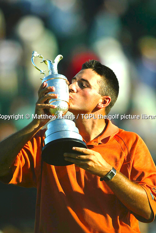 Ben CURTIS (USA) wins as he raises the famous claret jug aloft during fourth round The Open Championship 2003,Royal St Georges,Sandwich,Kent,England.