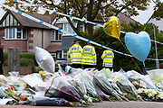 Two days after the killing of the Conservative member of parliament for Southend West, Sir David Amess MP, floral and balloon tributes (from Southend's Muslim community) are left in Eastwood Road North, a short distance from Belfairs Methodist Church in Leigh-on-Sea, on 17th October 2021, in Leigh-on-Sea, Southend , Essex, England. Amess was conducting his weekly constituency surgery when attacked with a knife by Ali Harbi Ali.