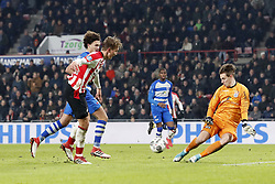 (L-R) Luuk de Jong of PSV, Phillipe Sandler of PEC Zwolle, Kingsley Ehizibue of PEC Zwolle, goalkeeper Mike Hauptmeijer of PEC Zwolle during the Dutch Eredivisie match between PSV Eindhoven and PEC Zwolle at the Phillips stadium on February 03, 2018 in Eindhoven, The Netherlands
