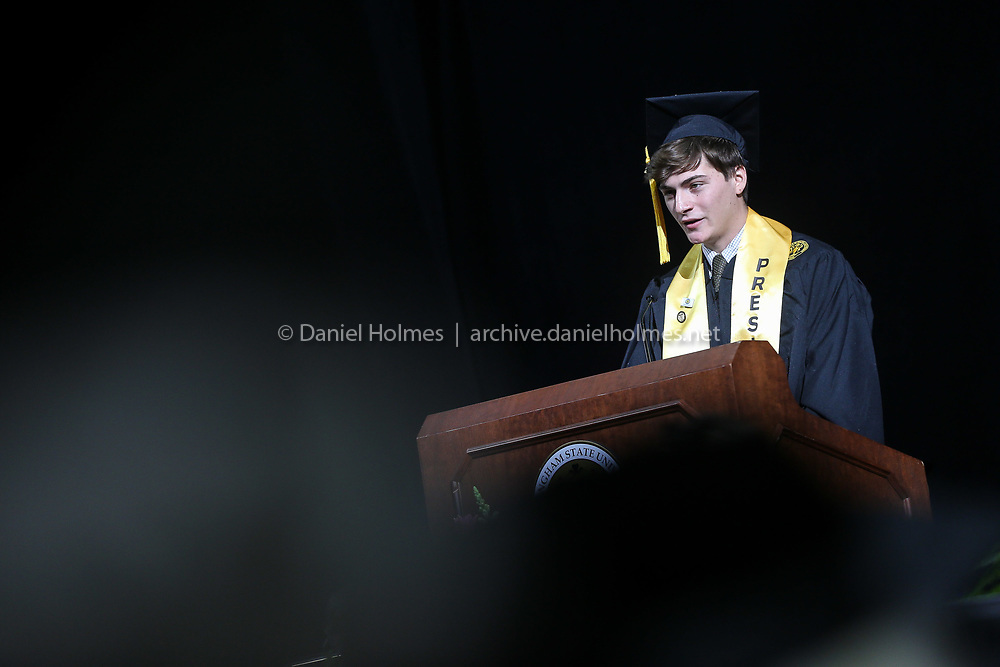 (5/26/19, WORCESTER, MA) Class President Matthew Pellegrino addresses classmates during the Framingham State University's undergraduate commencement ceremony at the DCU Center in Worcester on Sunday. [Daily News and Wicked Local Photo/Dan Holmes]